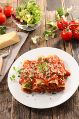 cannelloni with beef and tomato sauce