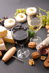wine and cheese composition