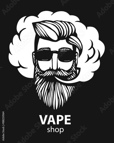 Hipster with vape and cloud  isolated vaper men on black