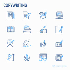 Copywriting thin line icons set: letter, e-mail, book, blogging, hand with pen, feather, typewriter, article, seo. Modern vector illustration.