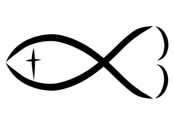 A Christian symbol, a fish with a cross and a heart