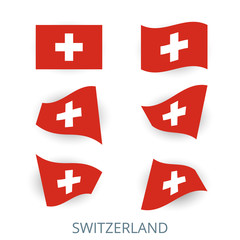 Set of icons of the flag of Switzerland. A collection of various images of the country's flags. Vector illustration