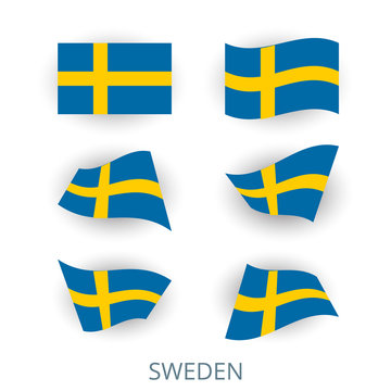 Set of icons of the flag of Sweden. A collection of various images of the country's flags. Vector illustration