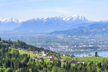 Wall Mural - Blick auf Bregenz, Eichenberg, das Rheintal und das Alpstein-Massiv mit dem Säntis