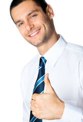 Businessman with thumbs up, isolated