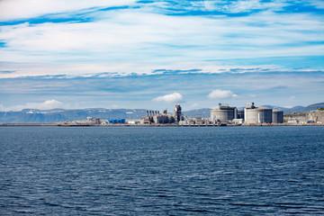 Hammerfest Island Muolkkut Northern Norway, gas processing plant.