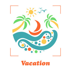 Summer travel vacation logo concept in circle shape. Sea resort, waves, mountains, sun, and palm tree. Paradise beach color graphic sign. Vector abstract illustration.