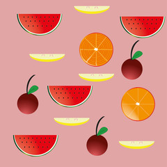 Vector wallpaper of fruits and berries