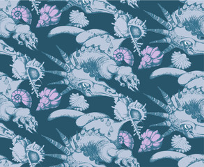 Seamless  pattern of Dragon. Engraving style.ечать