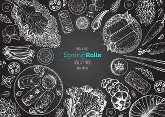 Asian food menu design template. Spring rolls and ingredients for spring rolls vector illustration. Vietnamese food top view frame. Vintage hand drawn sketch vector illustration. Engraved image.