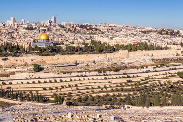 Temple Mount holy city Jerusalem view from the Oelberg on Old Town