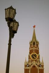 Spasskaya (Saviors) clock tower of Moscow Kremlin. Color photo
