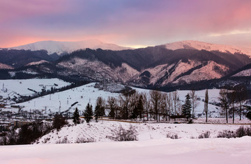 reddish winter evening over the mountains. beautiful light on snowy tops of Borzhava mountain ridge. location Volovets serpentine pass, Ukraine
