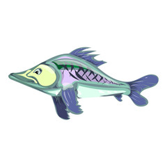 cartoon fish. vector illustration. Drawing by hand.