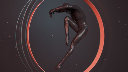 Black plastic human body inside abstract red coral circle. Action jump and dance ballet pose. 3D rendering illustration
