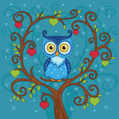 Blue owl sitting on a branch in the forest. Tree with hearts. Vector illustration.