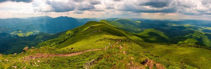 panorama of great Carpathian water dividing ridge. beautiful summer landscape view of Lviv and TransCarpathia regions of Ukraine from mountain Pikui
