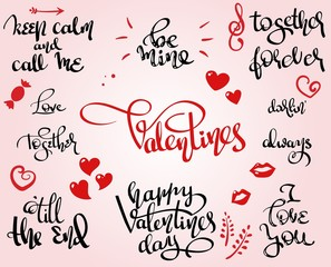 Love and St.Valentine themed vector hand written lettering set
