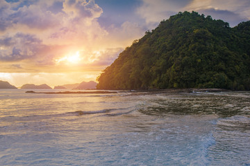 Beautiful sunset in El Nido, Palawan island, Philippines
