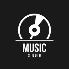 Music studio logo design. Music concept. Vinyl disc. Vector stock.