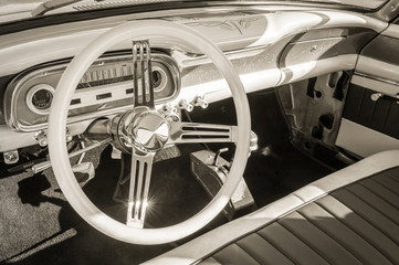 Wall Mural - vintage auto interior and steering wheel