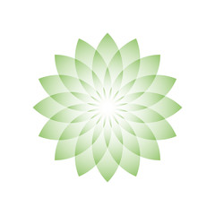 Green lotus flower - symbol of yoga, wellness, beauty and spa. Vector illustration.
