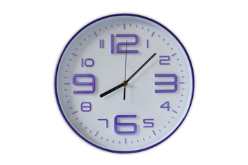The clock on white.