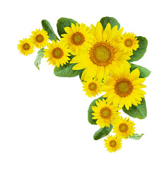 Sunflowers corner arrangement