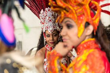 Brazilian womwn on carnival costume