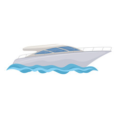 White yacht on white background, cartoon illustration of water transport. Vector