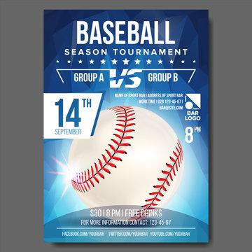 Baseball Poster Vector. Banner Advertising. Sport Event Announcement. Announcement, Game, League Design. Championship Illustration