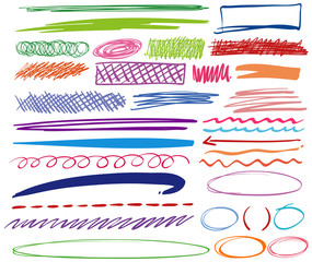 Different pen doodles in different colors