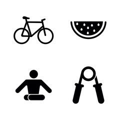 Healthy Lifestyle. Simple Related Vector Icons Set for Video, Mobile Apps, Web Sites, Print Projects and Your Design. Black Flat Illustration on White Background.