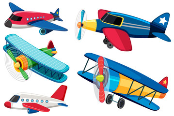 Different types of airplanes