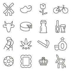 Dutch Culture & Tradition Icons Thin Line Vector Illustration Set