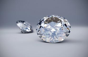 Diamonds places on white background 3D illustration.