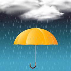 Yellow umbrella and rain in the sky