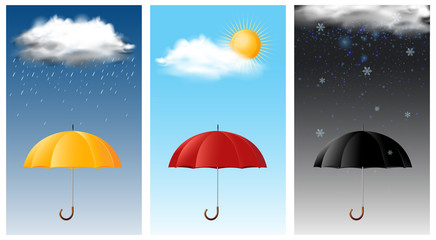 Three sky scenes with different weathers