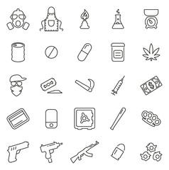 Drug Cartel or Drug Dealer Icons Thin Line Vector Illustration Set