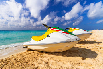 Jet ski for rent on the beach at Caribbean Sea, Mexico