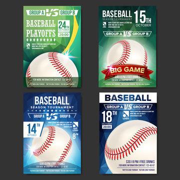 Baseball Poster Set Vector. Design For Sport Bar Promotion. Baseball Ball. Modern Tournament. Sport Event Announcement. Banner Advertising. Template Illustration