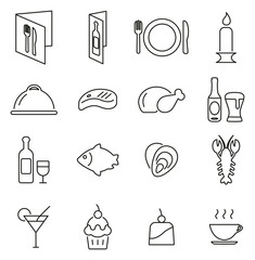 Dinner or Romantic Dinner Icons Thin Line Vector Illustration Set