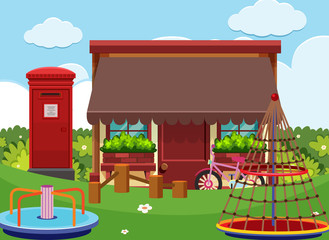 Shop and playground at daytime