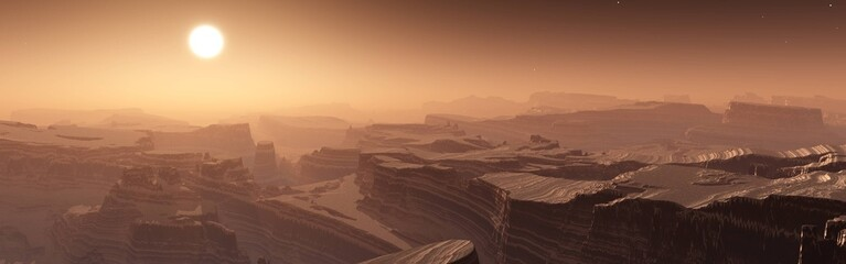 panorama of sunset on Mars, Martian landscape, banner, 3D rendering