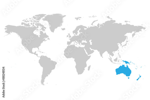 Australia continent blue marked in grey silhouette of world map australia continent blue marked in grey silhouette of world map simple flat vector illustration gumiabroncs Images