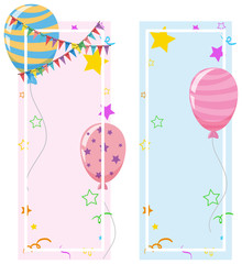Banner design with balloons and stars