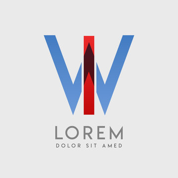 """IW logo letters with """"blue and red"""" gradation"""