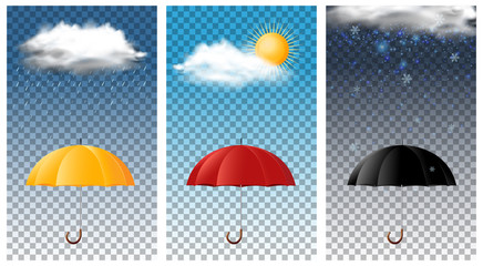 Three background with umbrella in different seasons