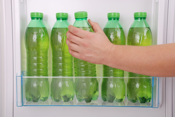 Cool herbal drink in plastic bottle