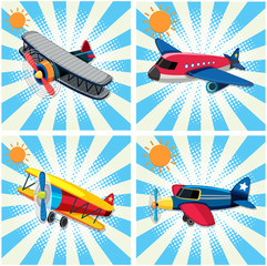 Four designs of airplanes on sky background